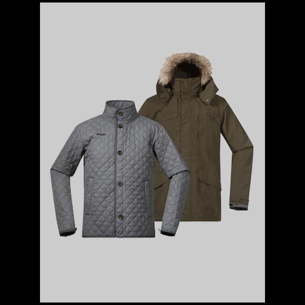 Bergans jakke Aune 3in1 grøn/grå