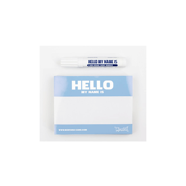 Hello My Name Is Stickers Blue, 100stk med Marker