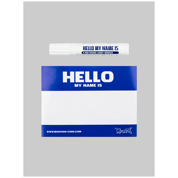 Hello my name is stickers Blue