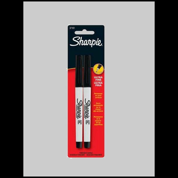 Sharpie - 1mm Sort Ultra Fine Marker Tusch, 2 stk