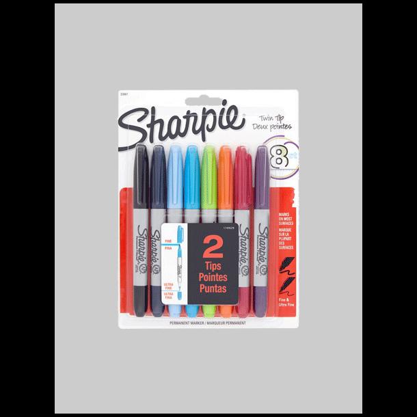 Sharpie - Twin Tip Set, 8 stk
